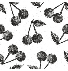 cherries hand drawn seamless pattern fruits vector image