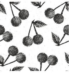 cherries hand drawn seamless pattern fruits vector image