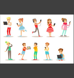 children and gadgets set of with vector image