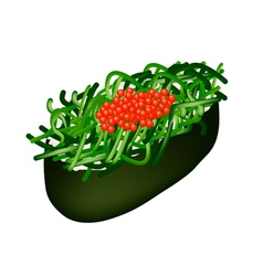 Chuka Wakame Seaweed Salad Sushi with Tobiko Roe vector