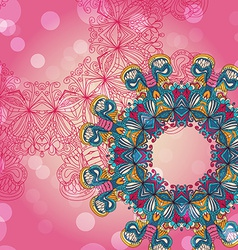 Circle mandala lace hand-drawn kaleidoscope vector