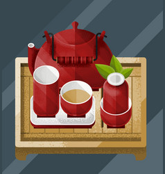 colorful chinese tea table concept vector image