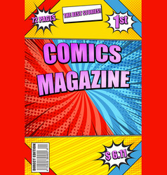 Colorful comics magazine vector