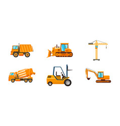 contruction machine icon set cartoon style vector image