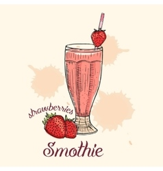 Creative strawberry smoothie in glass with straw vector image