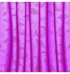 Curtain with pleats and damsk ornaments vector