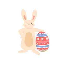 cute bunny holding huge painted easter egg with vector image