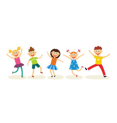 dancing kids set in flat style - happy joyful vector image