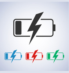 discharged battery icon on a gray background in vector image