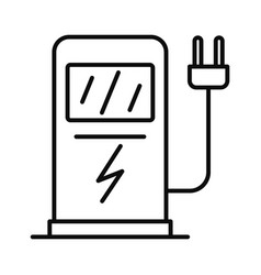 Electric car recharge station icon outline style vector