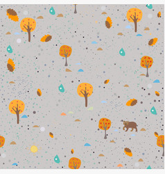 fall trees on fotted background with bear vector image