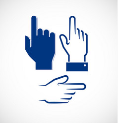 finger pointing signal gesture set vector image