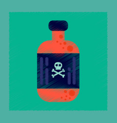 flat shading style icon potion in bottle vector image