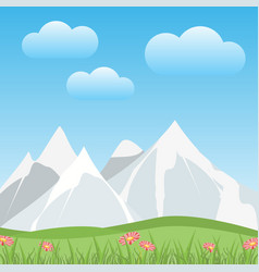 Flat snowy mountains with valley in a spring vector