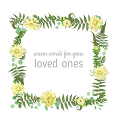 Floral card design green fern forest leaves vector
