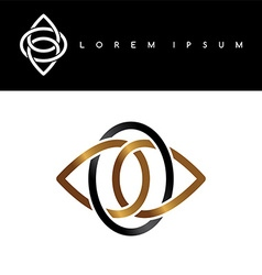 flower symbol gold black monochromatic abstract vector image