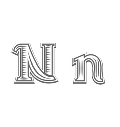Font tattoo engraving letter n vector