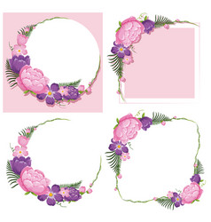 Four frame designs with pink and purple flowers vector