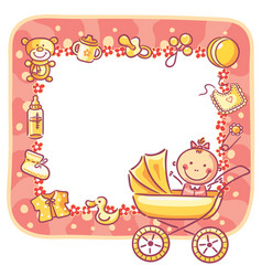 Frame with baby-girl things vector