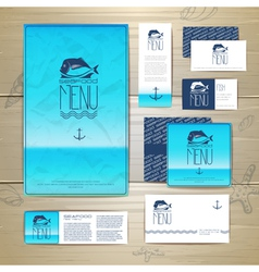 Fried fish restaurant menu concept design vector image