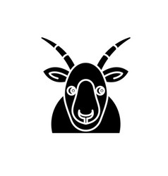 funny goat black icon sign on isolated vector image