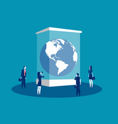 globe in a museum glass box concept business vector image