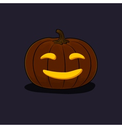 Halloween Smiling Pumpkin on Dark Background vector image