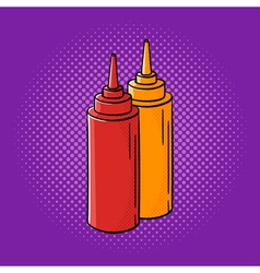 hand drawn pop art of ketchup and mustard vector image