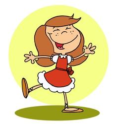 Happy Brunette Girl Dancing vector image