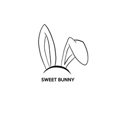 Happy easter with rabbit ears mask graphic vector