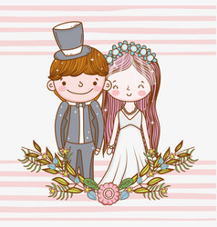 Happy woman and man with plants leaves vector