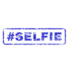 Hashtag selfie rubber stamp vector