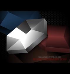 hexagonal silver metal shapes vector image