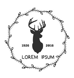 Hipster logo with silhouette of deer and twigs vector image