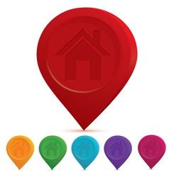 Home icon drop pin vector