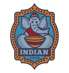 Indian food commercial logotype with elephant in vector