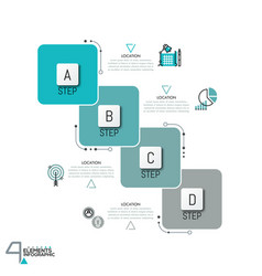infographic design template with 4 overlapped vector image