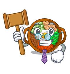 Judge plate containing bibimbap cartoon on table vector