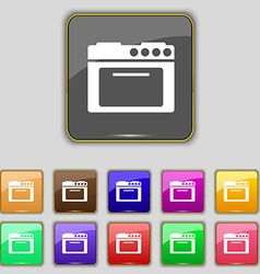 kitchen stove icon sign Set with eleven colored vector image