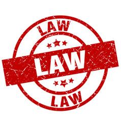 Law round red grunge stamp vector