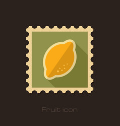Lemon flat stamp tropical fruit vector