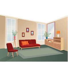 lliving room interior with furniture sofa vector image