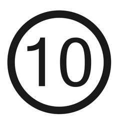 Maximum speed limit 10 sign line icon vector