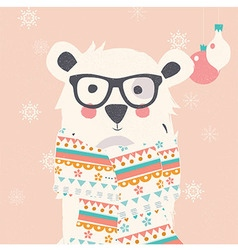 Merry Christmas card with hipster polar white bear vector image