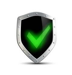 metal shield with green tick isolated on white vector image