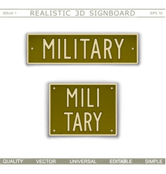 military signboard in car license plate style vector image