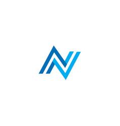 modern letter n logo blue image vector image