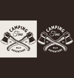 Monochrome camping season print vector