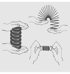 monochrome icon set with shock and hands vector image