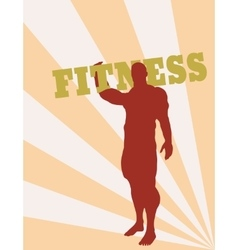Muscular man holding fitness word vector